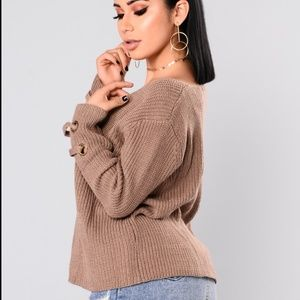 FN Brown Lace up Sleeve Sweater